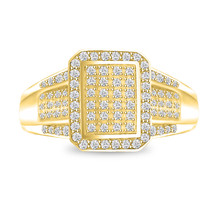 14K Yellow Gold Finish Cluster Christmas Day Fancy Ring 925 Silver Size ... - $55.99