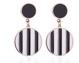 Black & White Dangle Striped Earrings 80's Fashion Drop Retro Earring Gi... - $15.49