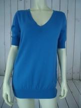 ANN TAYLOR Sweater M Royal Blue Merino Wool Nylon Poly Knit V-Neck Front Back - $38.61