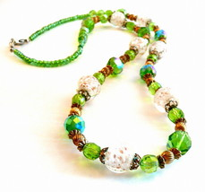 Vintage 1970s 80s Murano Art Glass & Crystal NECKLACE - $45.58