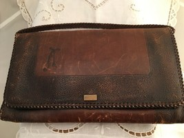 Vintage Early 1900's Arts & Crafts Tooled Leather Clutch Purse  - $17.87