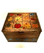 Vintage Metal Box Hinged Lid Hand Painted Fruits Flowers Signed 11 inche... - $33.66