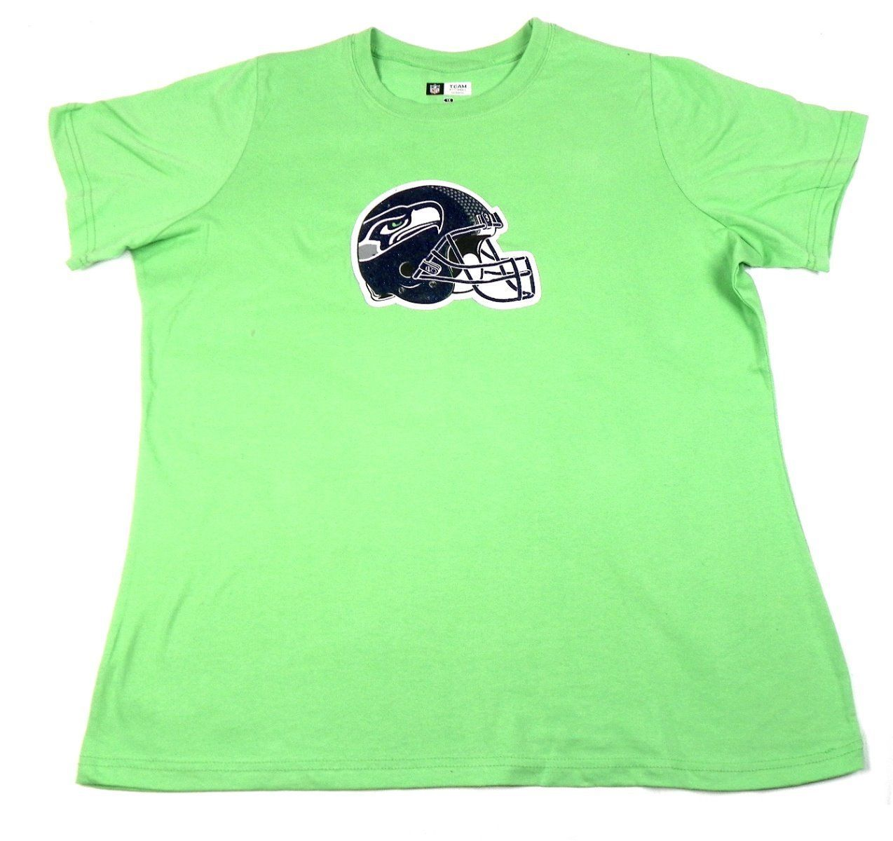 Women's Plus Seattle Seahawks Shirt NFL Bright Green Tee T-Shirt NEW Football