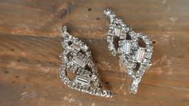 Vintage Rhinestone Clip Earrings 4.5cm - $17.81