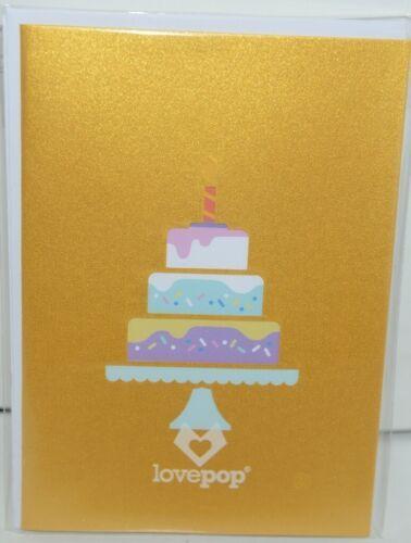 Lovepop LP1782 Happy Birthday Cake Pop Up Card White Envelope Cellophane Wrapped