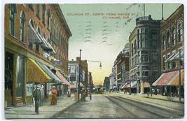 Calhoun Street Fort Wayne Indiana 1908 postcard - $6.44