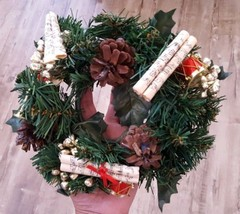 Wreath Candle Holder Centerpiece Christmas Xmas decoration Faux Greenery... - $14.89