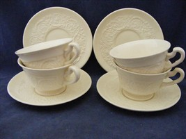 4 Sets Vtg Wedgwood Etruria Barleston Old Patrician Footed Cup & Saucer ... - $29.95