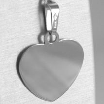 18K WHITE GOLD HEART, PHOTO & TEXT ENGRAVED PERSONALIZED PENDANT 22 MM, MEDAL image 3