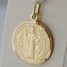 Pendant Yellow Gold Medal 750 18k, Protection, ST. BENEDICT, CROSS, SOLID image 2