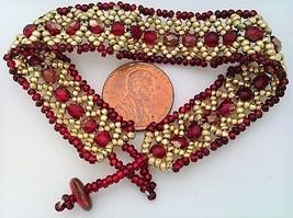 Red Gold Bead Woven Bracelet - $10.23