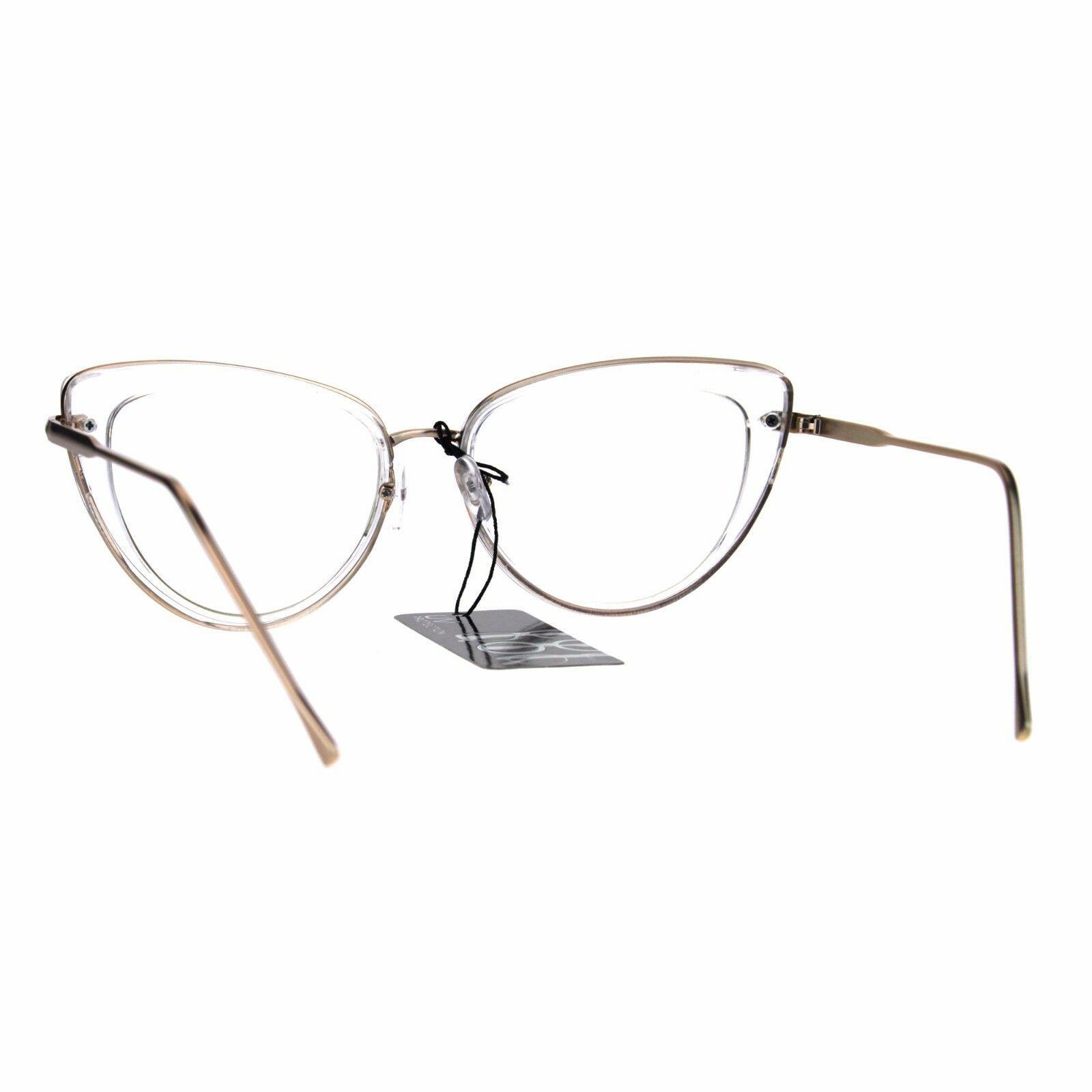 Womens Double Rim Goth Cat Eye Clear Lens Glasses Frame