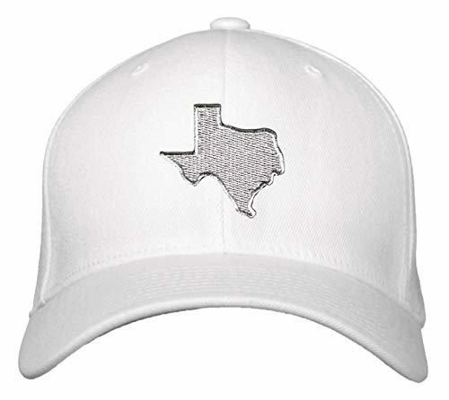 Silver Texas Map Hat - Adjustable White Cap