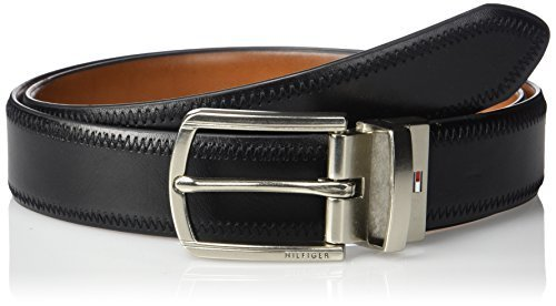 Tommy Hilfiger Men's 1 1/4 Inch Feathered Edge Stitched Reversible Belt,black/ta