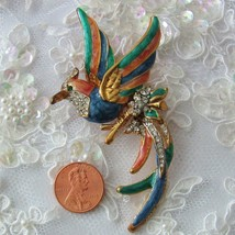 Vintage Cold Enamel Painted Rhinestone Open Winged Bird Gold Tone Pin Br... - $12.85