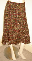 ANN TAYLOR LOFT Cranberry/Brown Autumn Print Rayon/Wool Skirt w/ Ruffled Hem (4) - $19.50