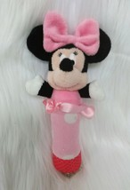 Disney Minnie Mouse Baby Hand Baby Rattle Lovey Toy Pink Girl Polka Dot B59 - $9.97