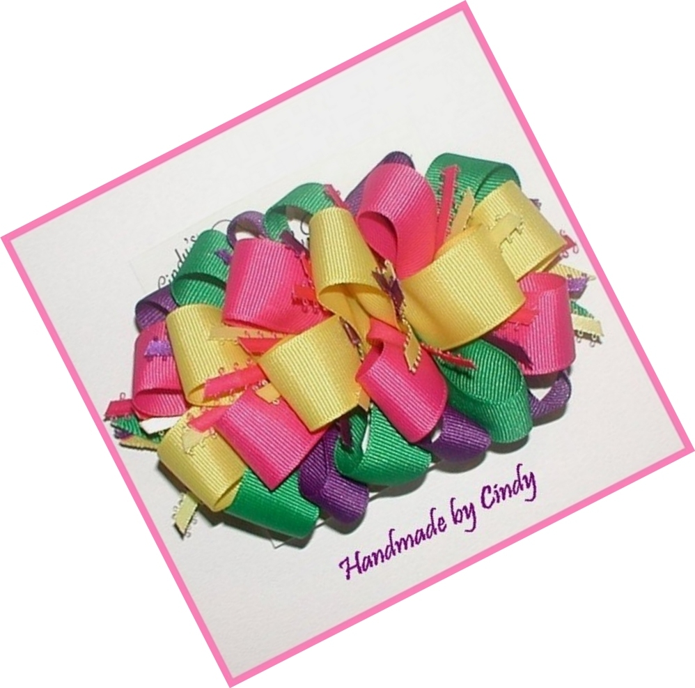 Purple Pink Green Yellow Hair Bow, Bright Multi Colored Hair Bow