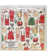 Vintage PAPER DOLL GIFT WRAP 1980s Santa & Mrs CHRISTMAS NOS Wrapping Paper - £7.91 GBP