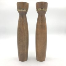 "Vintage Imperial Intl Japan Wood Salt Shaker and Pepper Mill Set 10.5"" T... - $99.95"