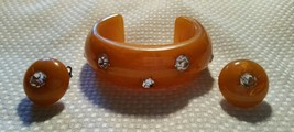 Vintage Bakelite with Insert Rhinestones Oval Cuff Bangle Bracelet and E... - $895.00