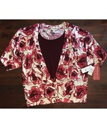 NWT NEW Cathy Daniels 2pc look floral top sz 2X pink red maroon knit fau... - $18.70