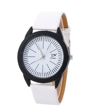 Round Lines Sport Watches Women Black Leather Belt Luxury Wristwatch