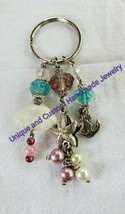 Starfish shell anchor lampwork glass, glass metal handmade keyring - $6.00