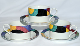 Mikasa Currents * 3 CUPS & 3 SAUCERS * Bright & Colorful Geometric, EXC!! - $9.89