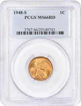1948-S 1c PCGS MS66 RD - Lincoln Cent - $43.65