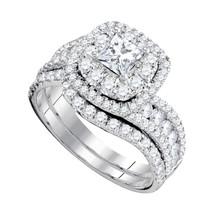 14k White Gold Princess Diamond Bridal Wedding Engagement Ring Set 2.00 Ctw - $3,699.00