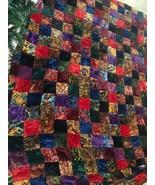 Old Vintage Patchwork VELVET Quilt King Size Huge CRAZY COLORFUL Quilt ! - $1,000.00