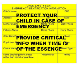 Child Safety Stickers Emergency Vital Information  Set of 6 Stickers Custom - $5.00