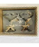 25th WEDDING ANNIVERSARY A Toast To The Happy Couple 2 Stems Inscribed I... - $24.75