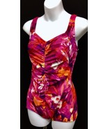 Womens One Piece Swimsuit Rose Marie Reid Floral Pattern Center Ruching ... - $32.30