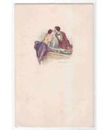 Romantic Couple Beautiful Lady Kissing Artist Signed Bompard postcard - $12.00