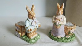 "2 Avon Springtime Collections Nnb Porcelain Bunny Rabbit Tealights, 6"", No Box - $9.89"