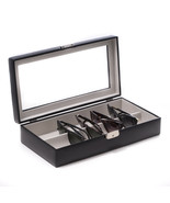 Bey Berk Black Leather Multi Purpose Case with Glass Top and Locking Clasp  - $101.95