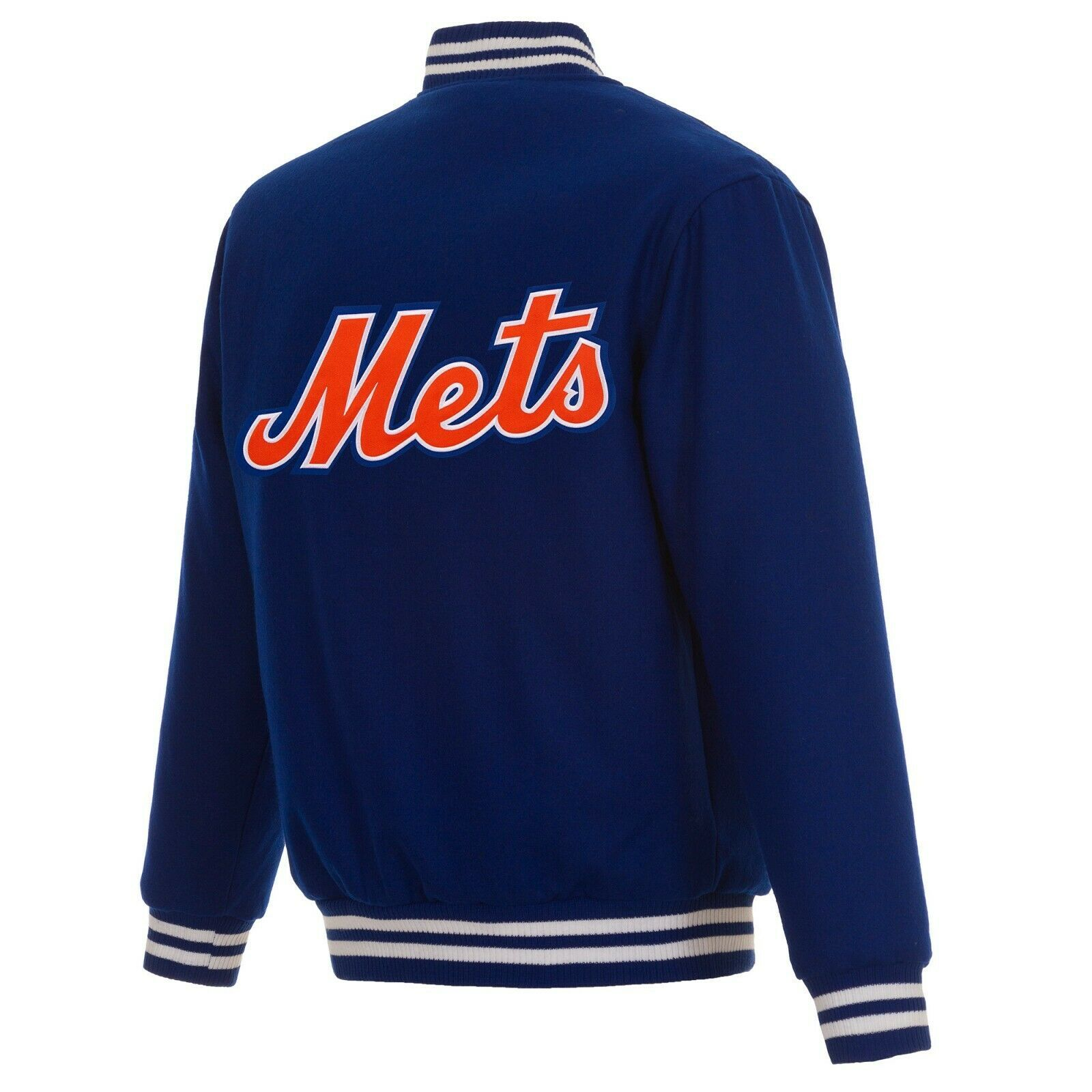 MLB New York Mets JH Design Wool Reversible Jacket Royal Blue Embroidered Logos - $179.99