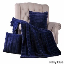 Faux Fur Throw and  Pillow Set Perfect Christmas Gift  2 Keep Navy Blue - $98.98
