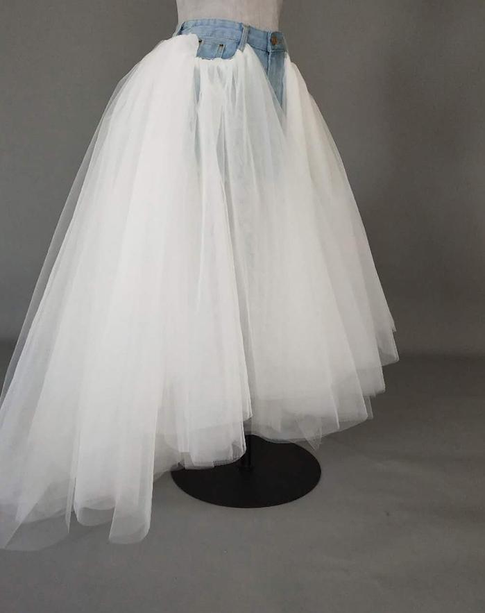 Women Ruffle Slit Tulle Skirt Floor Length Tulle Skirt w. Slit Jean Party Skirt image 5