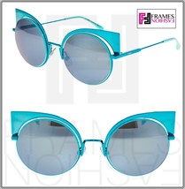 FENDI EYESHINE FF0177S Aqua Blue Mirrored Metal Sunglasses Round Runway ... - $237.60