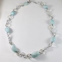NECKLACE THE ALUMINIUM LONG 60 CM WITH AQUAMARINE BLUE BLUE image 1