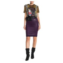 Moschino Love Violet Purple Quilted Satin Pencil Stretch Skirt 48 14 NWT $595 - $172.76