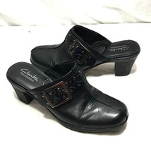 Clarks Bendables Black Leather Buckle Adorned Mules Clogs Heels 6.5M