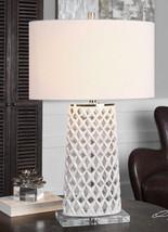 "Fretwork Table Lamp Gloss White 30"" Accent Ceramic Pierced Light Lattice... - $305.80"
