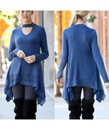 Navy Blue Heathered Choker Tunic Top Lace Hi Low Hem Detail Sz Large - $27.00