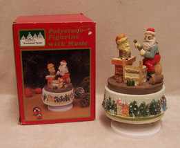 Christmas Music Box Santa Claus St Nick Revolving Plays Silent Night  - $13.16