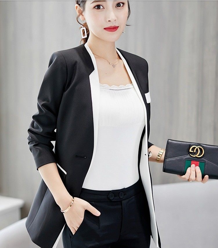 Chic Korean Fashion One-Button Long Sleeve Autumn Fall Women Blazer Suit Outwear