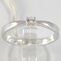 White Gold Ring 750 18k, Solitaire, squared stem, Diamond, Carats 0.10 image 1